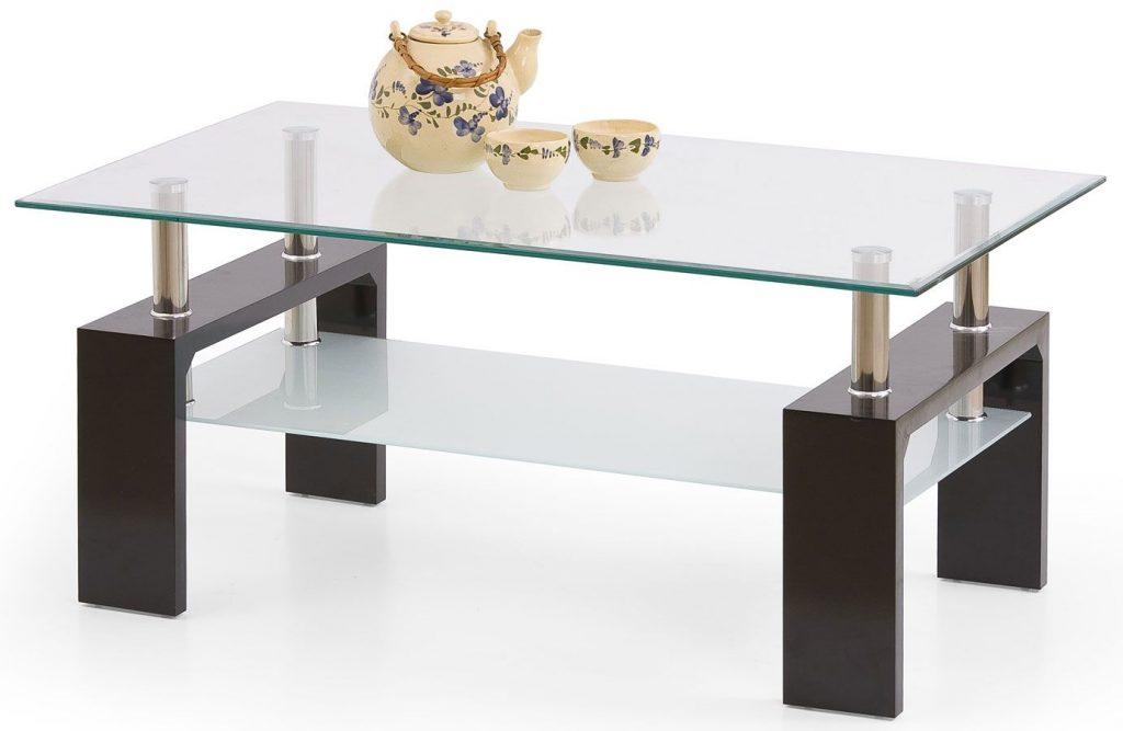 stylowy, szklany stolik kawowy